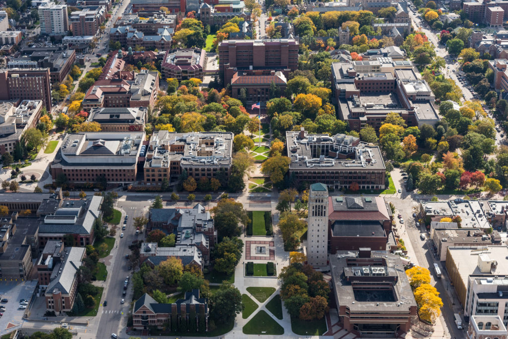 University of Michigan central campus aerial looking south at the Diag